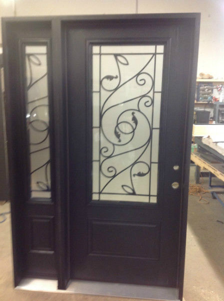 fiberglass door sidelite wrought iron
