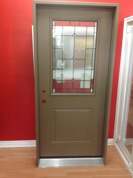 entrance steel door with glass